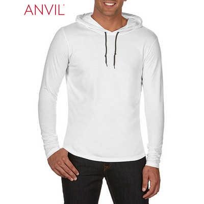 Anvil Adult Lightweight Long Sleeve Hooded Tee White (987_WHITE_GILD)